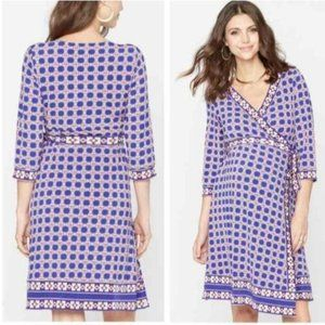 A Pea in the Pod XS maternity printed wrap dress